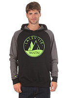 LAKEVILLE MOUNTAIN Raglan Two Tone Logo 1.0 Hooded Sweat black/dark grey heather/lime