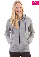 Womens Basic Hooded Sweat Zip Sweat grey heather/purple