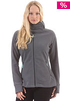 Womens Fleece Hooded Zip Sweat dark grey/mint