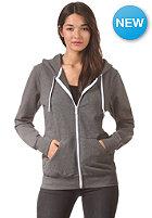 LAKEVILLE MOUNTAIN Womens Plain Hooded Zip Sweat dark grey heather/white