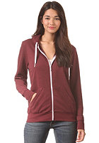 LAKEVILLE MOUNTAIN Womens Plain Hooded Zip Sweat maroon heather/white