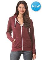 LAKEVILLE MOUNTAIN Womens Plain Hooded Zip Sweat maroon heather/white