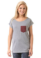 LAKEVILLE MOUNTAIN Womens Pocket Loose S/S T-Shirt grey heather/maroon heather