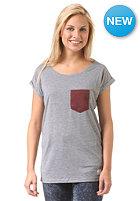 Womens Pocket Loose S/S T-Shirt grey heather/maroon heather