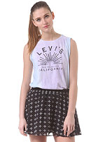 LEVIS Womens Graphic Muscle Tank Top white w/ gradient wash setting sun logo