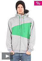 LIGHT Double Hooded Zip Sweat grey heather/green