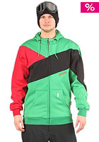 LIGHT Pod Hooded Zip Sweat kelly green/red/black