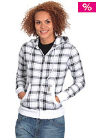 LIGHT Womens Plaid Hooded Zip Sweat white