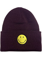MasterDis Smiley Cuff Knit Beanie burgundy