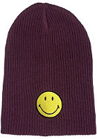 MasterDis Smiley Rib Knit Slouch Beanie burgundy