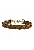 MINT Womens Big Braided Leather Gold Bracelet bronze