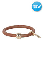 MINT Womens Big Stitch Leather Gold Bracelet mocha