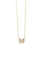 MINT Womens Butterfly Card Necklace gold plated