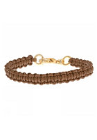MINT Womens Leather Macrame Gold Bracelet mocha