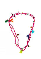 MINT Womens Mixed Bead & Tassel Necklace hot pink