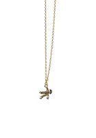 MINT Womens Small Gingerbread Man Necklace gold plated
