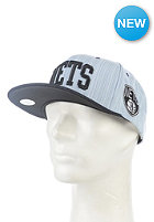MITCHELL NESS Striped Denim Arch Brooklyn Nets Snapback Cap denim indigo