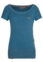 NAKETANO Womens Wolle V S/S T-Shirt deep blue green melange