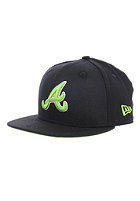 NEW ERA Kids Black Pop Atlanta Braves Fitted Cap black/lime green