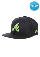 NEW ERA Kids Black Pop Atlanta Braves Fitted Cap black/lime green