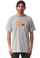 NIKE SB Icon Logo S/S T-Shirt dk grey heather/hyper crimson