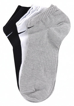 NIKE SPORTSWEAR Cotton No Cushion No Show 3 Pack Socks white/grey/black