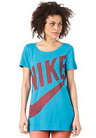 NIKE SPORTSWEAR Womens Exploded Sportswear BF S/S T-Shirt light blue/dark grey heather/pink forc
