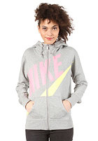 NIKE SPORTSWEAR Womens Fz Hooded Zip Sweat dark grey heather/electric yellow