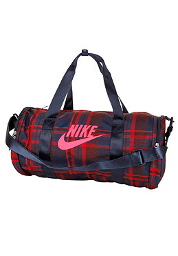 NIKE SPORTSWEAR Womens Race Day Medium Duffel Plaid Bag deep burgundy/solar red/