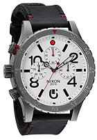 NIXON 48-20 Chrono Leather gunmetal / white