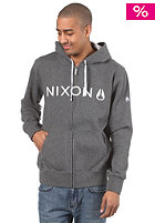 NIXON Basis Too Hooded Zip Sweat dark heather/white