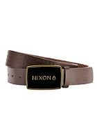 NIXON Enamel Wordmark Belt dark brown pin dot
