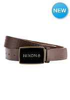 NIXON Enamel Wordmark Belt dark brown pin dot