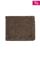 NIXON Satellite Big Bill Bi-Fold ID Coin Wallet brown suede
