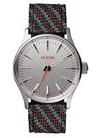NIXON Sentry 38 Lthr silver / pink / lt blue woven