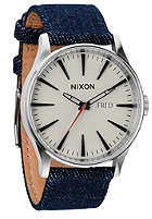 NIXON Sentry Leather dark denim / cream