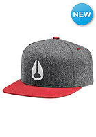 NIXON Simon Snapback Cap heather gray / red