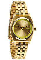 NIXON Womens Small Time Teller gold/neon yellow
