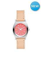 NIXON Womens Small Time Teller Lthr bright coral/ natural