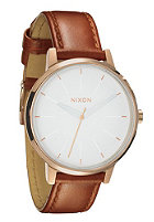 NIXON Womens The Kensington Leather rose gold/white