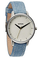 NIXON Womens The Kensington Leather washed denim / cream