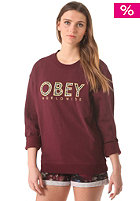 OBEY Womens Brower Crew Sweat maroon
