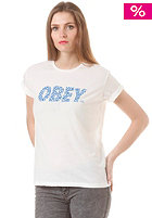 OBEY Womens Cheetah Font S/S T-Shirt optic white / blue