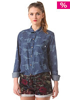 OBEY Womens Joni Button Down L/S Shirt indigo