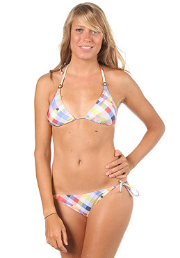 ONEILL Womens PW Check Halter Bikini B-Cup blue aop
