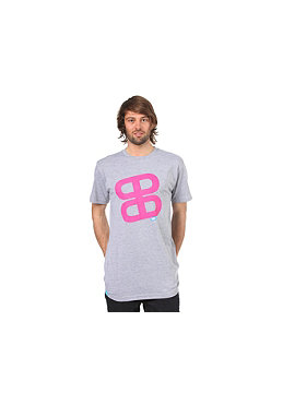 PLANET SPORTS Icon Print S/S Slimfit T-Shirt heather grey/magenta