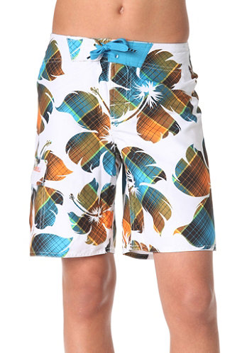 KIDS/ Bigflowercheck Boardshorts white/aop