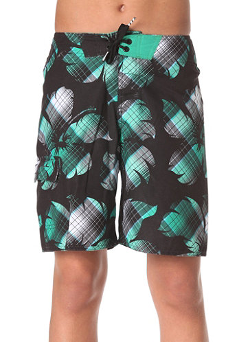 KIDS/ Bigflowercheck Boardshorts black/aop
