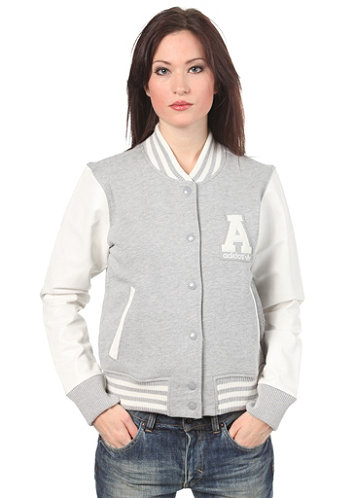 Womens Letterman Jacket medium grey heather/running white