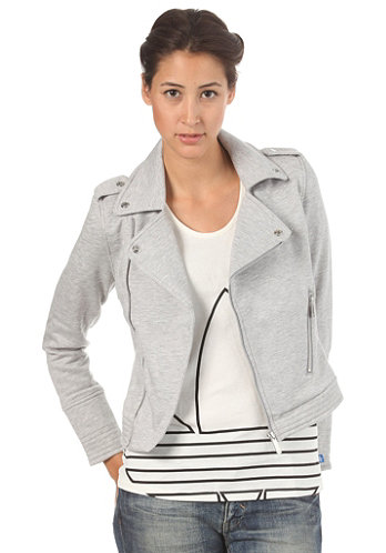 Womens Biker Hooded Jacket medium grey heather
